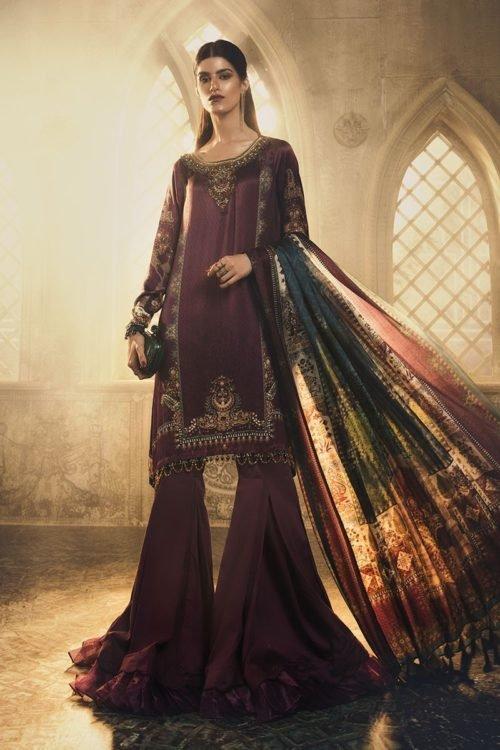 Mariab Silk Collection 2019 MARIA.B. Silk 2019 Unstitched Silk MSK-403-Purple Ready to Ship - Original Pakistani Suits