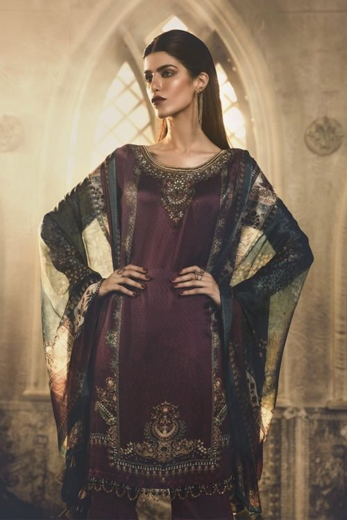 MARIA.B. Silk 2019 Unstitched Silk MSK-403-Purple – RELISTED / RESTOCKED Best Sellers Restocked best salwar suits online