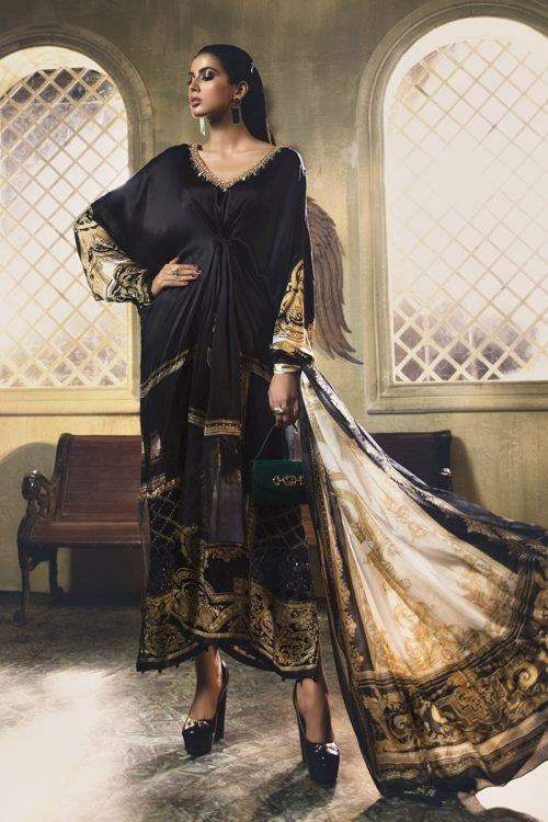 MARIA.B. Silk 2019 Unstitched Silk MSK-407-Black – RELISTED / RESTOCKED Best Sellers Restocked best salwar suits online