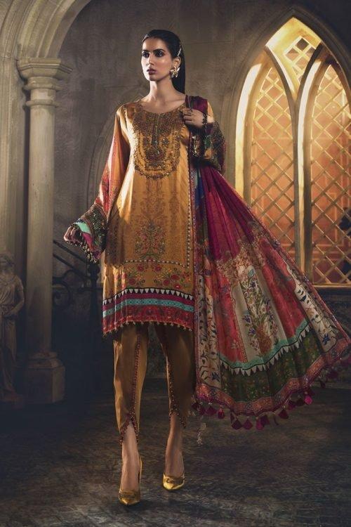 Mariab Silk Collection 2019 MARIA.B. Silk 2019 Unstitched Silk MSK-408-Mustard Ready to Ship - Original Pakistani Suits