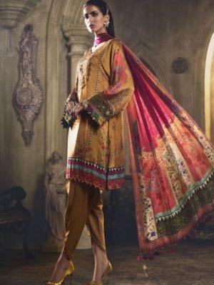 MARIA B MARIA.B. Silk 2019 Unstitched Silk MSK-405-Coffee Ready to Ship - Original Pakistani Suits
