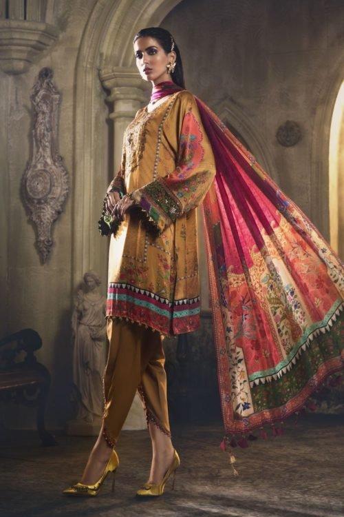 MARIA.B. Silk 2019 Unstitched Silk MSK-408-Mustard – RELISTED / RESTOCKED Best Sellers Restocked best salwar suits online