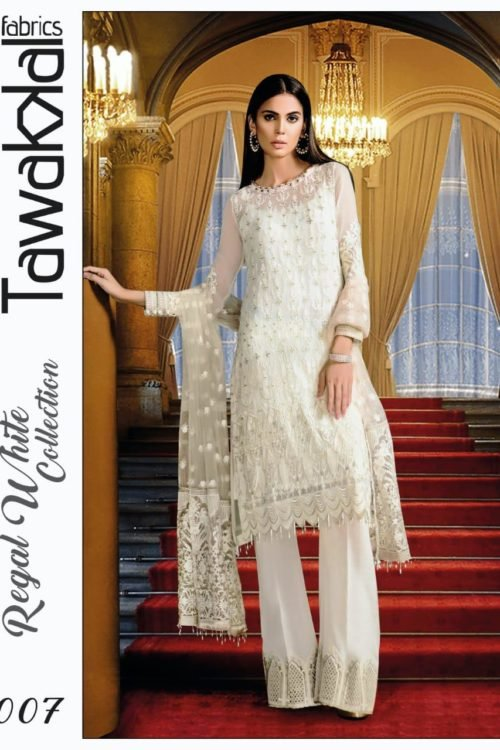 Tawakkal Regal White Collection – D-07 Best Sellers Restocked best salwar suits online