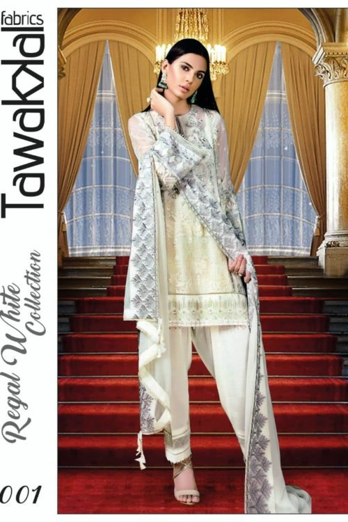 Tawakkal Regal White Collection – D-01 Best Sellers Restocked best salwar suits online