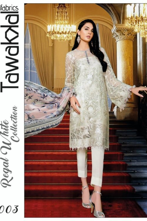 Tawakkal Regal White Collection – D-03 Best Sellers Restocked best salwar suits online