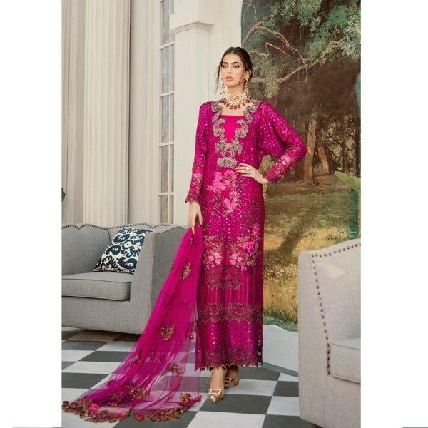 Rouche Luxe Chiffon – WILD ROSE – RESTOCKED Rouche Luxe Chiffon - Original Chiffon Kameez Suits