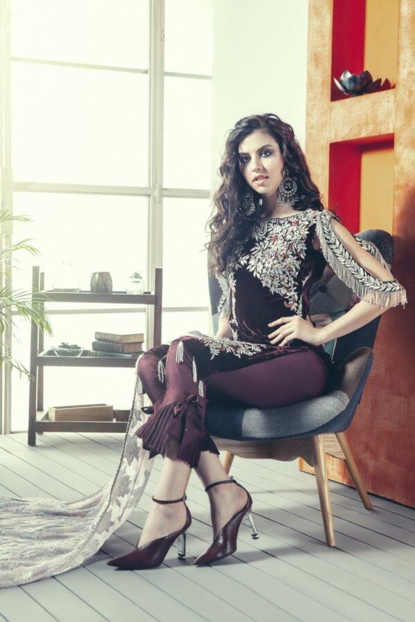 Zara Hayaat Winter Festive Velvet 2020 – RAISIN 20 W4 RESTOCKED